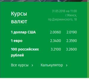 Курсы валют на сегодня в Беларусбанке.